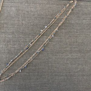 Alexis Bittar long strand gold and blue necklace